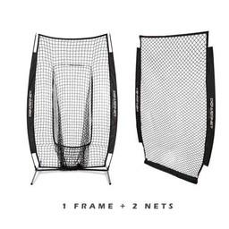 PowerNet I-Screen w/ Frame + Infielder Net Bundle - BLACK