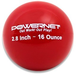 """PowerNet 2.8"""" Weighted Training Ball (6 pack) (16 Oz - Red)"""