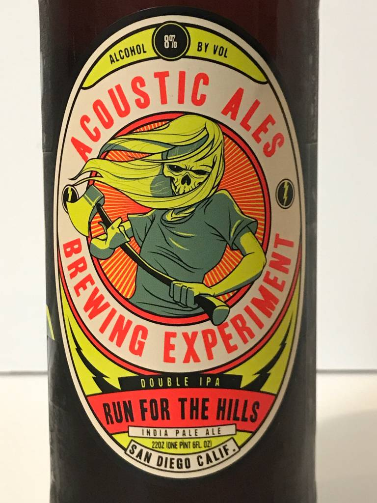 "Acoustic Ales Brewing Experiment ""Run For The Hills"" Double IPA,  California"