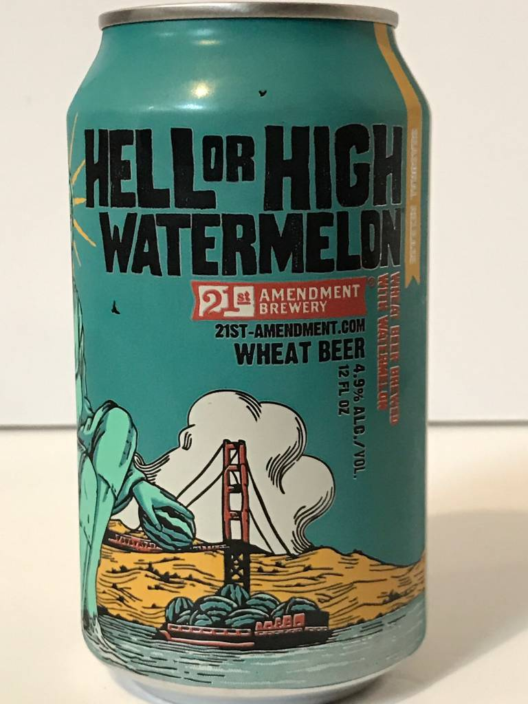 "21st Amendment ""Hell or High Watermelon"" Wheat Beer, California - 12oz can"