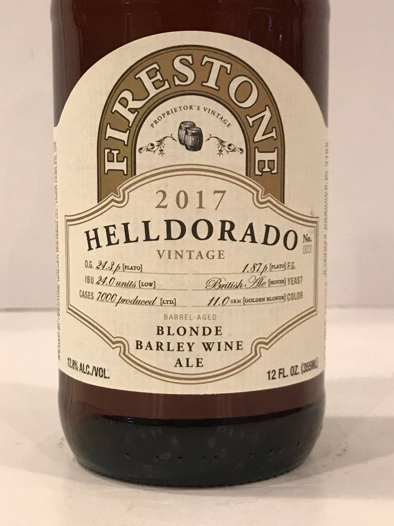 "Firestone-Walker Brewing ""Helldorado 2017"" Blonde Barleywine, California"