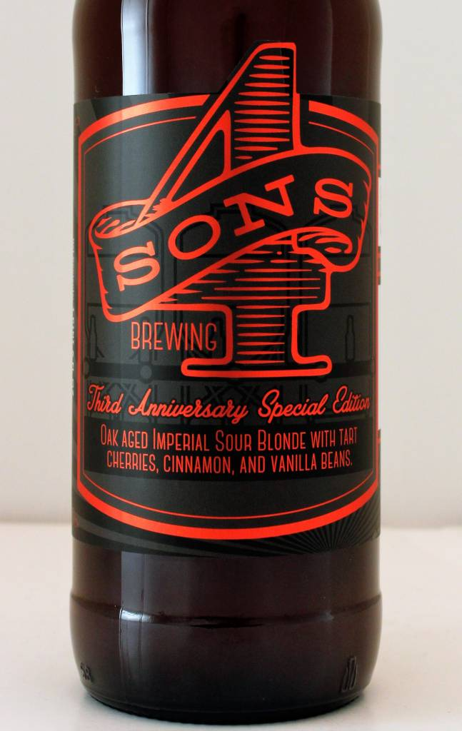 "4 Sons ""3rd Anniversary"" Barrel Aged Sour w/ Cherries and Vanilla, California"