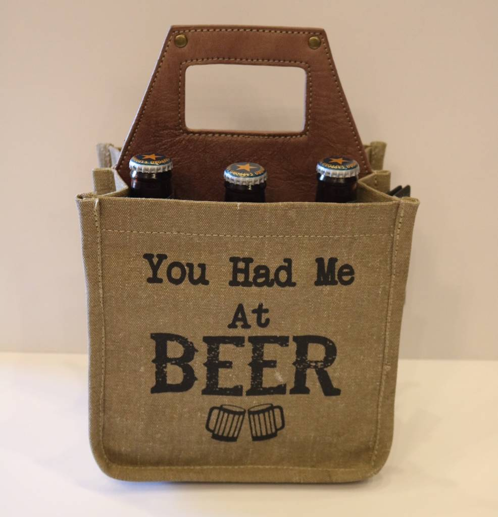 "Mona B Beer Caddy - ""You Had Me at Beer"" Canvas 6-Pack"