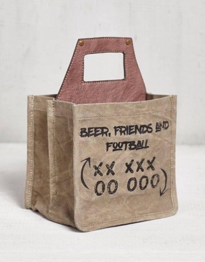 "Mona B Beer Caddy ""Beer Friends & Football"" Canvas 6-Pack"