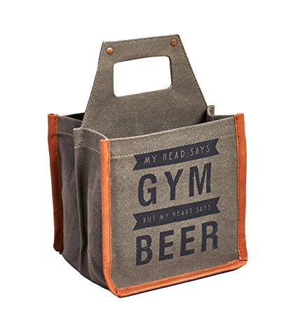"Mona B Beer Caddy - ""Head Says Gym, Heart Says Beer"" Canvas 6-Pack"