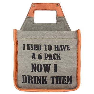 """Mona B Beer Caddy - """"I Used to Have a Six Pack"""" Vintage Canvas 6-Pack"""