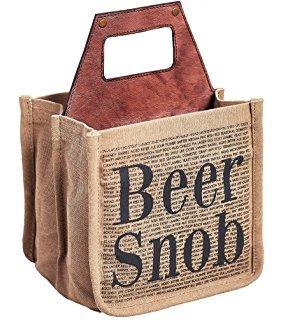 """Mona B Beer Caddy - """"Beer Snob"""" Vintage Canvas 6-Pack"""