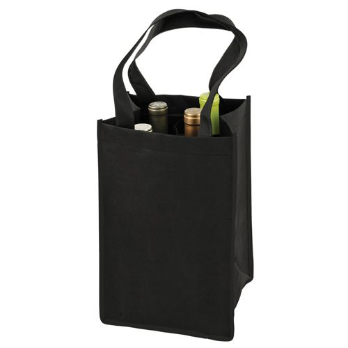 True - Non Woven 4-Bottle Tote Black