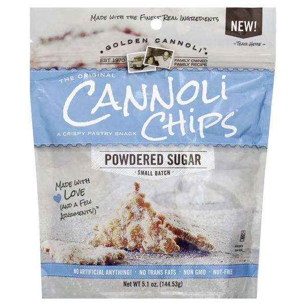 Golden Cannoli Cannoli Chips Powdered Sugar, Massachusetts
