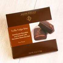 John Kelly Bite 4 pc Semi-Sweet Chocolate with Carmel and Hawaiian Sea Salt Truffle Fudge, Los Angeles, 4oz