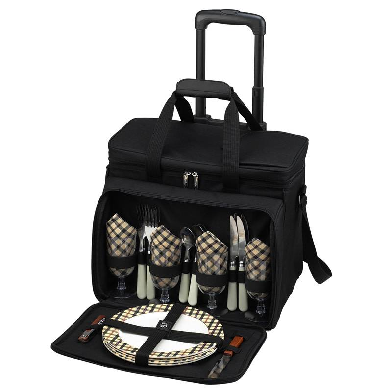 Picnic at Ascot Deluxe Picnic Cooler for Four on Wheels #330L