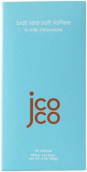 JCOCO Bali Sea Salt Toffee in Milk Chocolate Bars