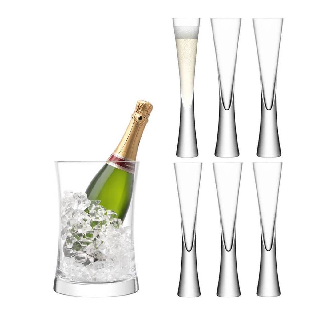 "LSA International ""Moya"" Serving Set 6 Champagne Glasses & Champagne Bucket"