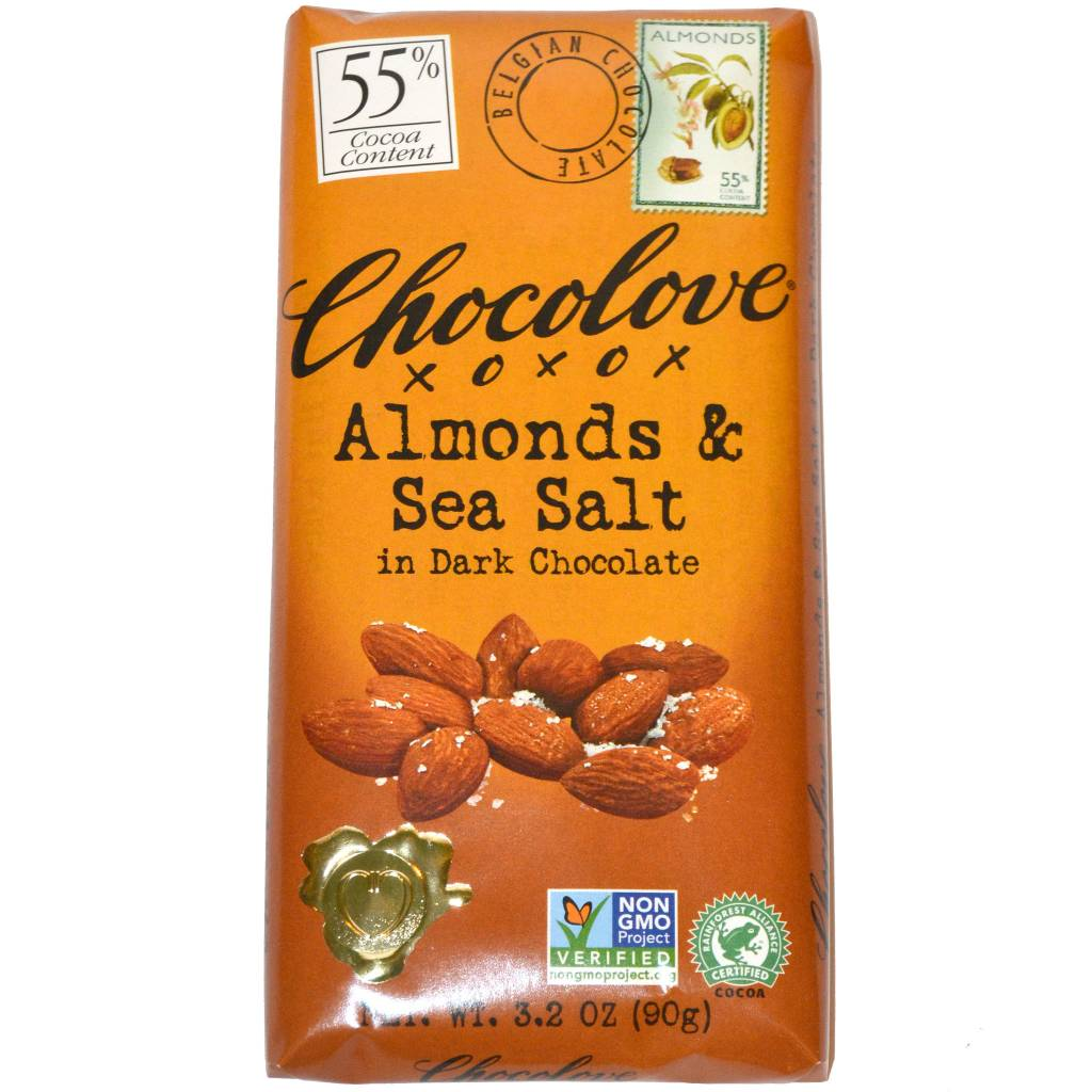 Chocolove Almonds & Sea Salt Dark Chocolate Bar, Boulder