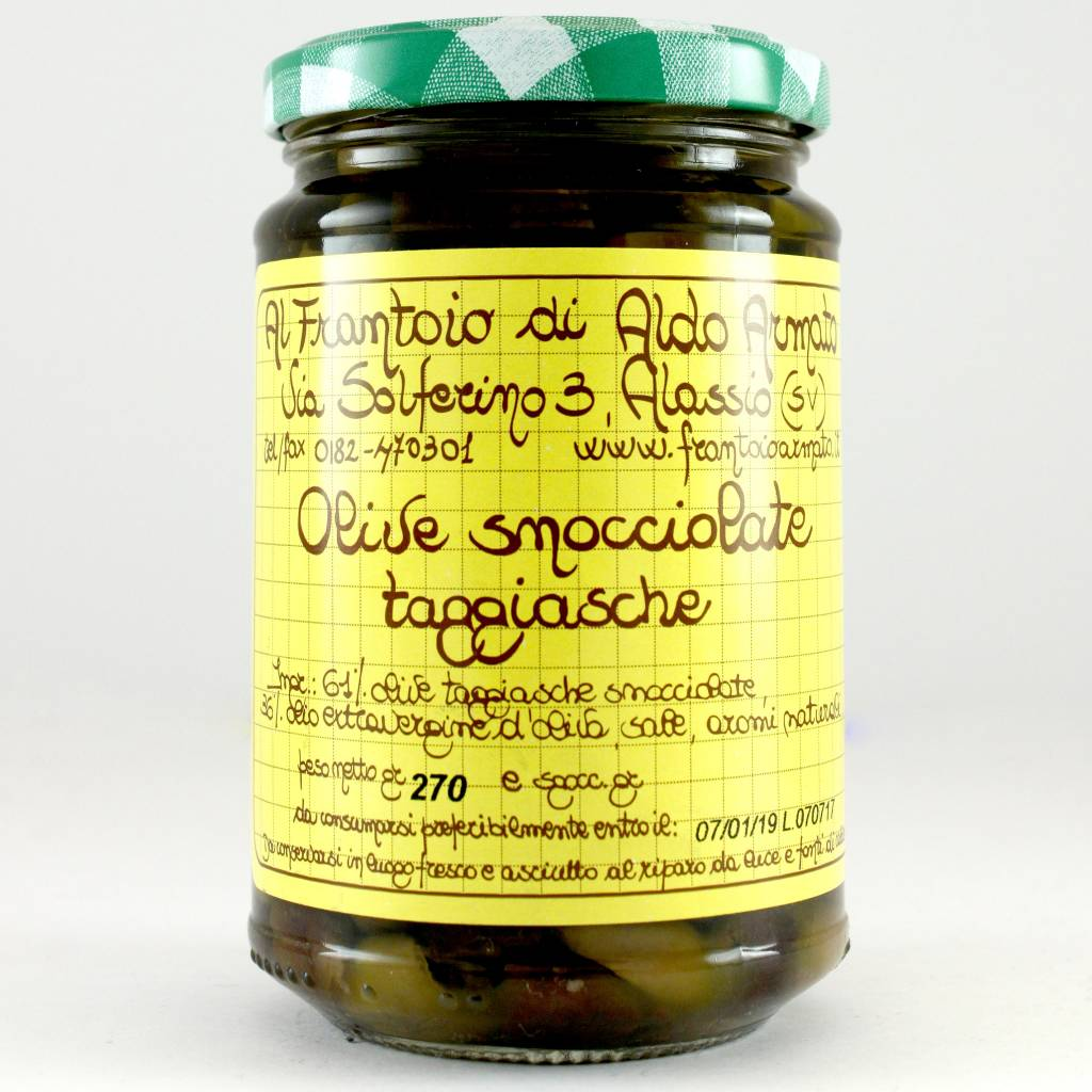 """Armato Olives """"Snocciolate"""" Pitted in Olive Oil, Liguria, Italy"""