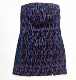 Vintage Blue Crushed Velvet Floral on Denim Strapless Dress (5/6)