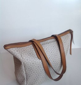 Fossil White & Grey Patent Leather Tote