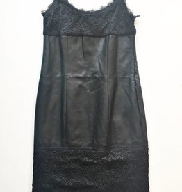 Venus Black Faux Leather & Lace Dress (10)