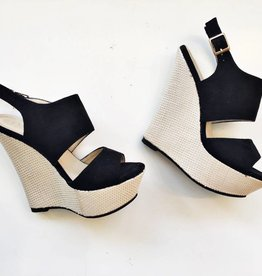 DBDk Fashion Black Strap Weave Wedges (6.5)