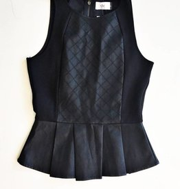 Dolce Vita Black Peplum Faux Leather Top (S)