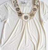Coldwater Creek Cream Shirt With Beaded Accent (M)
