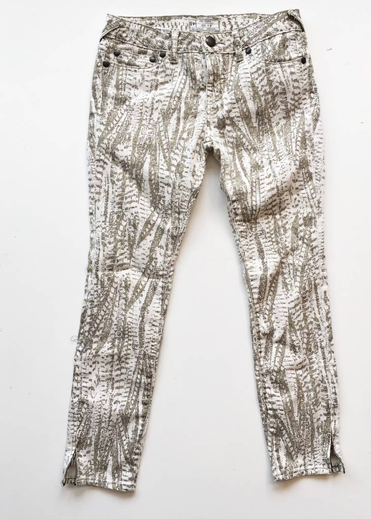 Free People White & Green Skinny Jeans (27)