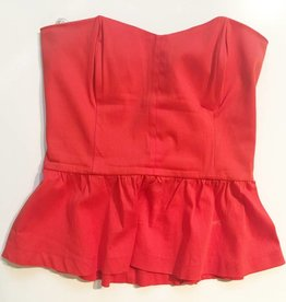 Monteau Orange Strapless Peplum Top (L)