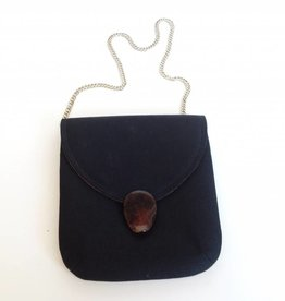 Black Fabric Purse with Gold Chain