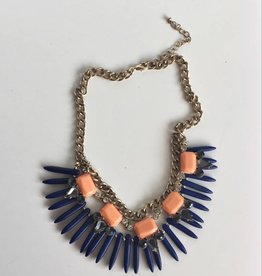 Blue Spike & Dreamsicle Stone Necklace