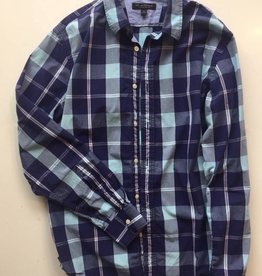 Banana Republic Blue Plaid Button Up (M)
