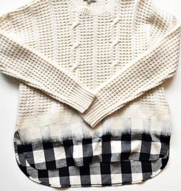 Madewell White Cable Knit Sweater w/ Sewn on Shirt (L)