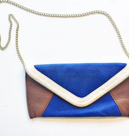 Steve Madden Blue & White & Brown Clutch