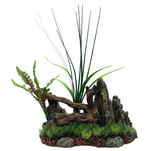 Aquaria (D) Marina Driftwood, Rock, Plants on Grassy Base, Medium