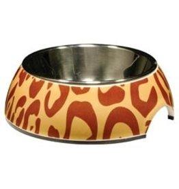 Dog & cat (W) CA Style Bowl w. SS Insert,Leopard, XS-V