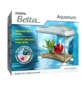 Aquaria Marina Spacious Betta Home - White - 6.7 L (1.77 US Gal)