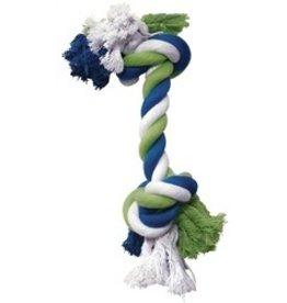 Dog & cat (W) DO Blue/Lime/White Cotton Rope Bone,XL-V