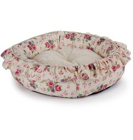 """Dog & cat (D) All for Paws Shabby Chic Round Bed, Cream, 26"""""""