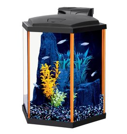 Aquaria NeoGlow Hexagon Aquarium Kit - Orange - 8 gal