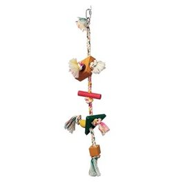 Bird (D) LW Junglewood Bird Toy, Rope with rectangle and triangle square beads with hanging clip