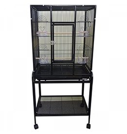 "Bird (W) AT Square Bird Cage & Stand - Black - 26"" x 17"" x 54"""