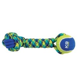 Dog & cat K9 Fitness by Zeus Rope and TPR Tennis Ball Dumbbell - 30.48 cm dia. (12 in dia.)