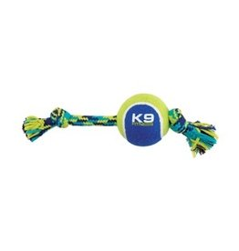 Dog & cat K9 Fitness by Zeus Knotted Rope Bone with Tennis Ball - Medium - 25.4 cm (10 in)
