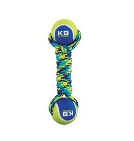 Dog &amp; cat K9 Fitness by Zeus Double Tennis Ball Rope Dumbbell with Tennis Ball - Medium - 6.35 cm (9 in)<br /> 96371