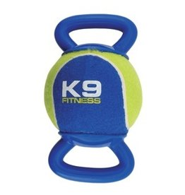 Dog & cat K9 Fitness by Zeus X-Large Tennis Ball with Double TPR Tug - 12.7 cm dia. (5 in dia.)