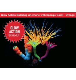 Aquaria AT Glow Action Bubbling Anemone with Sponge Coral - Orange