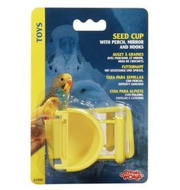 Bird (D) Living World Seed Cup with Perch - 30 g (1 oz) (LW)