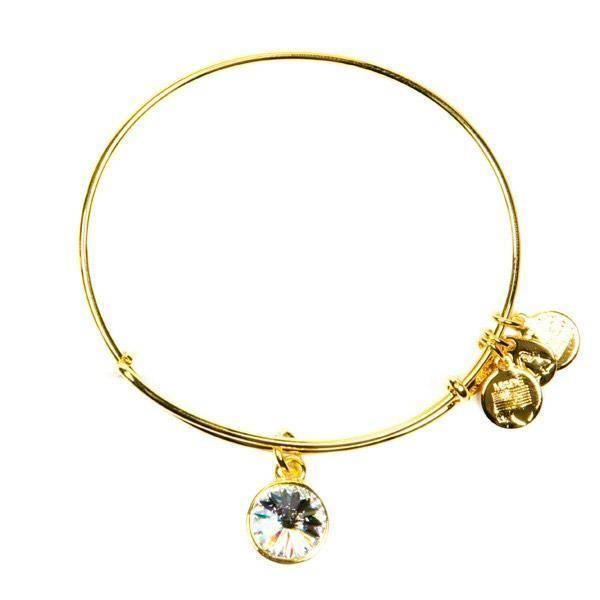 Alex And Ani Bracelet Birthstone April Crystal Shiny Gold Finish