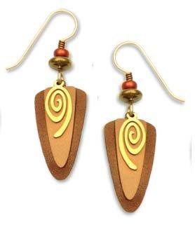 Adajio by Sienna Sky Copper Bronze Swirl Shield Earrings 7140