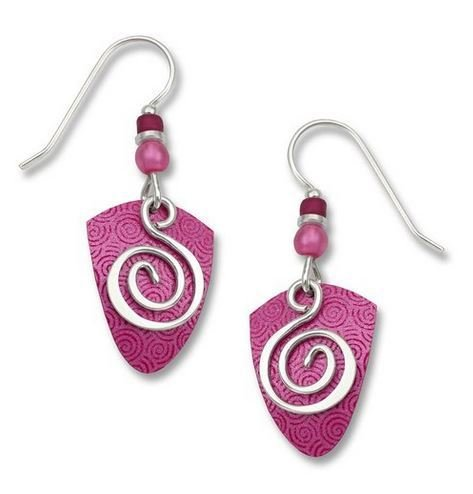 Adajio by Sienna Sky Deep Pink Shield with Silverplated Spiral Earrings 7305
