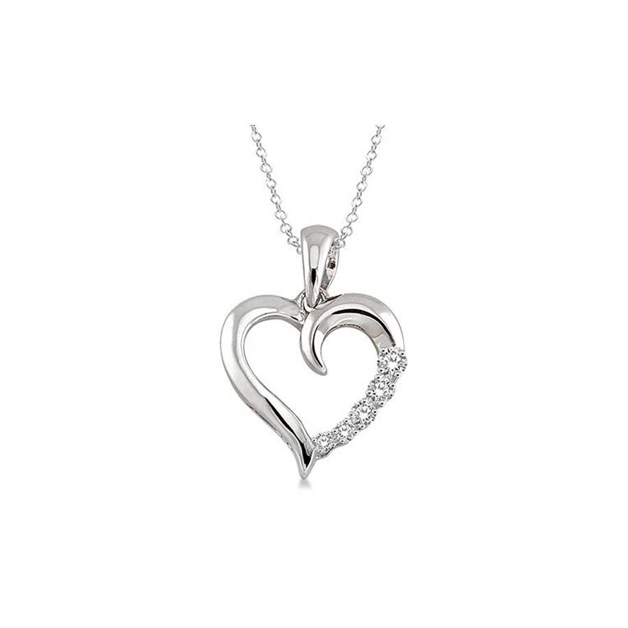 1/30 Ctw Single Cut Diamond Heart Shape Diamond Pendant in Sterling Silver with Chain